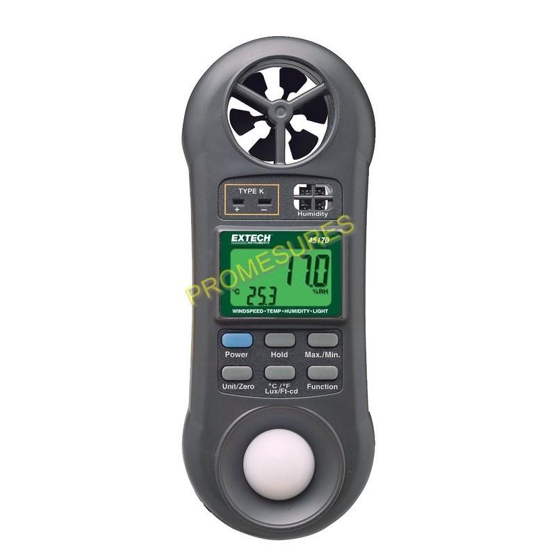 Thermo-hygromètre, anémomètre et luxmètre EXTECH 45170